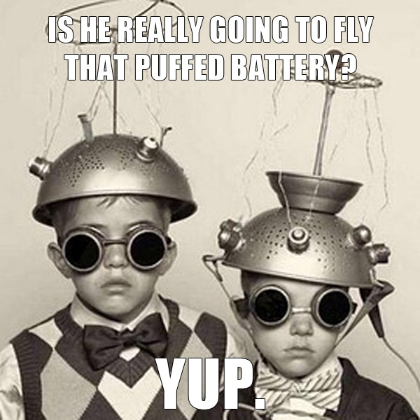 fpv puffed battery meme